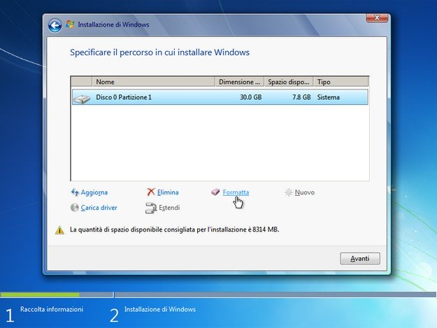 Captura de pantalla del procedimiento de instalación de Windows 7