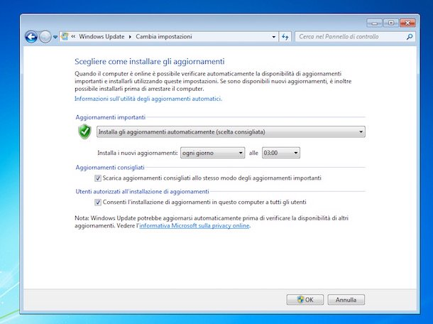 Captura de pantalla de Windows Update en Windows 7